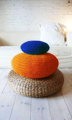 Floor Cushion Crochet orange por lacasadecoto en Etsy, €52.00