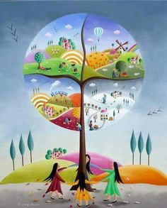 La Ronde des Saisons by Elisabeth Davy-Bouttier Season Calendar, Art Fantaisiste, Tree Of Life Art, Naive Art, Whimsical Art, Four Seasons, Painting & Drawing, Illustrators, Art For Kids
