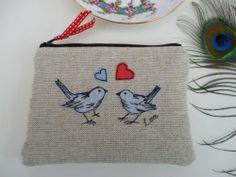 Handmade Coin Purse Makeup Bag Love Birds, Brand New Design, embroidery linen | eBay
