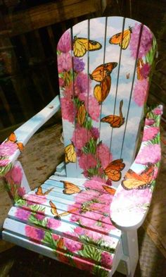Painted Adirondack Chair of Monarch Butterfly thene, by Artist Amy Stump Whimsical Painted Furniture, Hand Painted Chairs, Painted Benches, Hand Painted Furniture, Paint Furniture, Painted Dressers, Refinished Furniture, Diy Furniture Chair, Funky Furniture