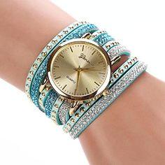 Suppion® New Women Crystal Rivet Bracelet Quartz Braided Winding Wrap Wrist Watch - Jewelry For Her