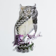 Owl on a Branch Engraved Acrylic Mirror Double Sided Sticky Tape, High Street Stores, Diy Store, Acrylic Mirror, Laser Cut Acrylic, Paint Drying, Clear Silicone, Window Cleaner, Wood Glue