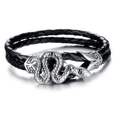 Black Braided Leather Rope Stainless Steel Snake Wristband Bracelet for Men #UnbrandedGeneric #Chain