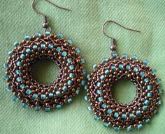 STEPHANIEMADE GREAT EARRINGS USING MY TUTORIAL. GREAT COLOR COMBINATION!  SHE DID A GOOD JOB! BEAUTIFUL EARRINGS!  PLEASE VISIT HER BLOG AND ENJOY IN HER BEADWORK.