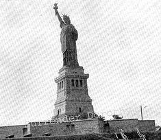 Statue Of Liberty Vintage 1890 Gustave Eiffel Ellis Island New York Harbor USA Antique Rotogravure P