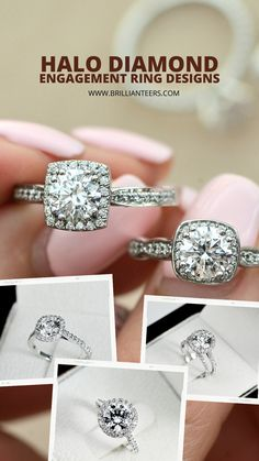 Choose from a variety of Affordable Halo Diamond Engagement Ring Designs available at www.Brillianteers.com