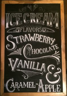 Optimistically Green » Chalk Art Chalkboard | Chalk-Menu | Chalk-Lettering | Hand-Lettering | Typography | Dairy Bar | Dairy Bar Menu | Ice Cream Signage | Ice Cream chalk art