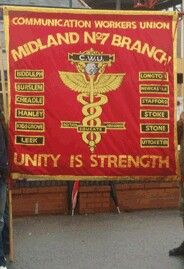 CWU Midland No7 Branch banner at a picket line in Stoke on Trent September 2009.