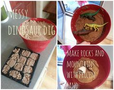 We used frozen sand to make rocks and mountains for our dinosaur dig