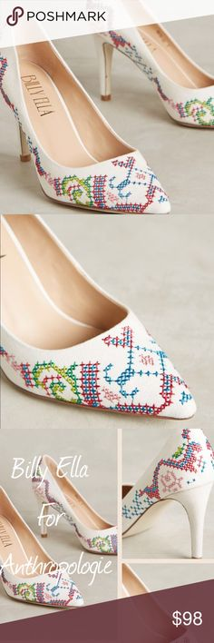 Billy Ella Embroidered White Pumps/ Anthro Anthropologie online exclusive, Billy Ella embroidered white pumps. Absolutely gorgeous on, especially for those who look good in white. Very flattering. Ftts, Cotton Upper. Leather insole. Imported. 3.5 cotton wrapped heel. New in box. NWT. Anthropologie Shoes Heels