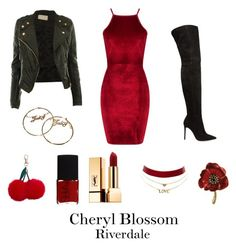"""""""Cheryl Blossom Riverdale"""" by sparkle1277 ❤ liked on Polyvore featuring Boohoo, CO, Gianvito Rossi, Juicy Couture, NARS Cosmetics, Yves Saint Laurent, Charlotte Russe and New Look"""