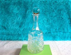 Pinwheel Crystal Decanter Bottle, Vintage Barware, Whisky / Scotch Glass Bottle / Carafe