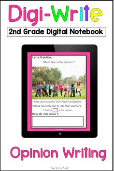 Go beyond writing prompts and worksheets and use bright and interesting digital images to spark your second grade students' interest. This comprehensive unit has teaching plans, practice slides, an assessment rubric and a student digital writing notebook.  The topic for this set is opinion writing.