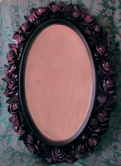 Black Rose Mirror Syroco Style Purple Fuchsia Highlights Hand Painted Upcycled