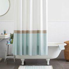 Horizon Stripe Shower Curtain - Clearwater #westelm/linc's bathroom