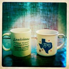Drinking Community Coffee Dark Roast again.  My husband and I are representing our home states with our mugs!  I am using my very favorite Texas mug and he is using his Louisiana Political Museum mug!