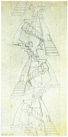 "Preliminary studies for ""House of Stairs"".  1951  Pencil"
