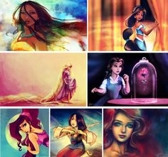 artistic disney painting fan art pocahontas rapunzel tangled jasmine aladdin beauty and the beast belle