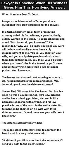 Lawyer Is Shocked When His Witness Gives Him This Horrifying Answer.