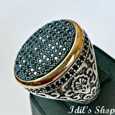 Men's Ring Turkish Ottoman Style Jewelry 925 Sterling by IdilsShop, $115.00