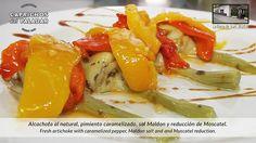 ¡ qué buena pinta tiene este plato de la Barra de Juan, en Murcia, realizadas con Alcachofas mediterráneas de Caprichos del Paladar, con pimientos caramelizados, sal macón y reducción de moscatel ! ¿apetece ?
