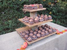 Rustic Cupcake Stand Wedding Decor Log Slice