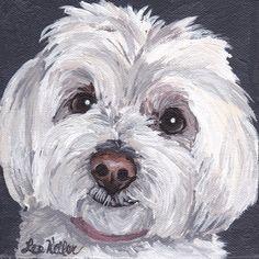 Maltese dog art print from original painting by Lee Keller HippieHoundUSA on Etsy