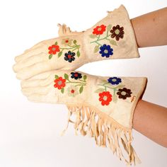 Vintage Leather Gauntlets with Native American Beading. Find at luckystargallery.com $275
