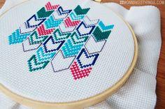 mon makes things: Chevron Cross Stitch Emroidery