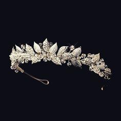 """The Harlow"" Silver Vintage Floral Bridal Tiara Bridal headband, bridal tiara, vintage bridal tiara, boho hair accessories, bohemian bridal accessories"