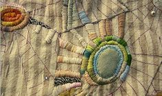 stitching as the world turns - jude hill Embroidery Applique, Embroidery Stitches, Embroidery Patterns, As The World Turns, Fiber Art Quilts, Little Stitch, Crochet Quilt, Sewing Art, Satin Stitch