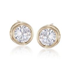 1.00 ct. t.w. Bezel-Set CZ Stud Earrings in 14kt Yellow Gold