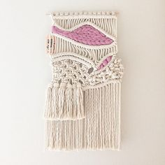 Small Macrame Wall Hanging/Tapestry/Weaving with by HelloChiqui