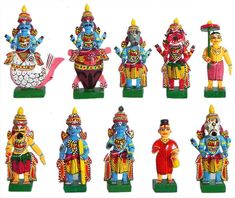 True Facility Kondapalli Traditional Dashavatar - Handmade Wooden Showpiece Size 3 Inches, Crafts of Andhra Pradesh, Home Decor, Indian Wooden Handicrafts, Indian crafts