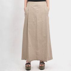 Brown Minimal Checks Cotton Skirt