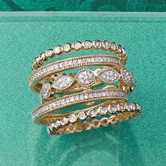 Set of Five Stackable Diamond Eternity Bands. A chic assortment of multi-shaped .88 ct. t.w. diamond bands. 14kt yellow gold rings. >>Click on the Diamond Rings to see more diamond eternity band styles at Ross-Simons.