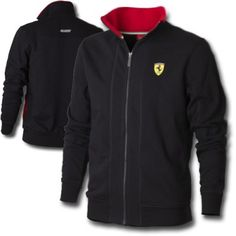 Official Ferrari Merchandise    Black Scuderia Ferrari Zipper Sweatshirt    This sweater features the Scuderia Ferrari Shield on the chest, in the top left corner and the Ferrari Scuderia logo embroidered on the back in white. There is a full length zip and a pedal detail zip pull, the collar is in a contrasting black colour.    Sweatshirt is also available in red