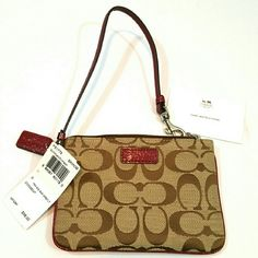 Coach Burgundy Trimmed Wristlet NWT.  Has 2 card pockets,  care card and price tag for $58.  Very nice wristlet! Coach Bags Clutches & Wristlets