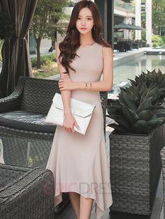 $28.82  Ericdress Solid Color Asymmetric Sleeveless Maxi Dress Maxi Dresses