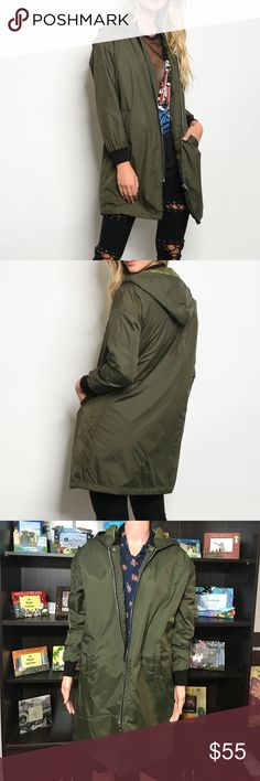 """Olive Bomber Jacket with Detachable Hood Long line bomber jacket, with detachable hood, ribbed cuffs and a zipper colure. Fabric Content: 100% NYLON  Measurements: Small: L: 35"""" B: 36"""" W: 38"""" Shoulder to shoulder 16"""" Medium: L: 36"""" B: 37"""" W: 39"""" Shoulder to shoulder 17"""" Large: L: 36"""" B: 38"""" W: 40"""" Shoulder to shoulder 18"""" Jackets & Coats"""