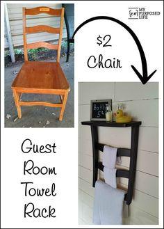 old chair makes a great guest room towel rack shelf MyRepurposedLife.com