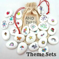 """mit – Steine bemalen – Figuren und Accessoires für ausgedacht… With – Paint stones – Figures and accessories for thought stories – great idea! // Story Stones … what a """"novel"""" idea! (THAT slogan is all… Continue reading → Kids Crafts, Diy And Crafts, Craft Projects, Arts And Crafts, Decor Crafts, Easy Crafts, Craft Ideas, Pebble Painting, Pebble Art"""