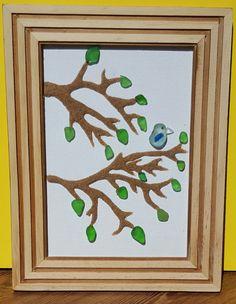 Nova Scotia Seaglass Art by SeaglassArtNS on Etsy Blue Bird 100% Nova Scotia Seaglass and Sand.  #novascotiaart #seaglass #pebbleart #etsy