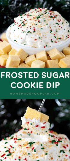 Frosted Sugar Cookie Dip! A fluffy dip made with International Delight Frosted Sugar Cookie Creamer and served fondue style with cubes of spongy pound cake. | HomemadeHooplah.com