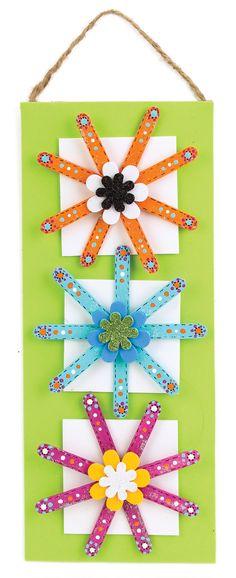 Nicole™ Crafts Craft Stick Flower Banner #kids #craft