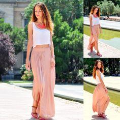 Maxi-falda rosa