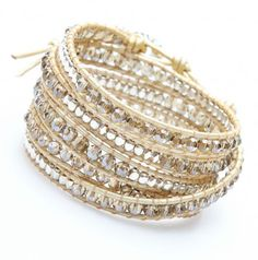 Nakamol Bracelet Wrap Perles Facettees Argent Et Cuir Dore
