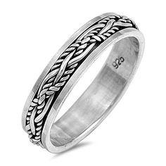 Sterling Silver Sleek Design Tattoo Spinner Ring Band Sz 7-13 – Silvershasta.com