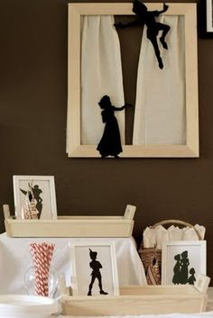 """Peter Pan party favors - make the kids """"shadows"""" into take home art"""