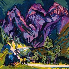 Ernst Ludwig Kirchner Expressionism | Sertigberge - Ernst Ludwig Kirchner as art print or hand painted oil.